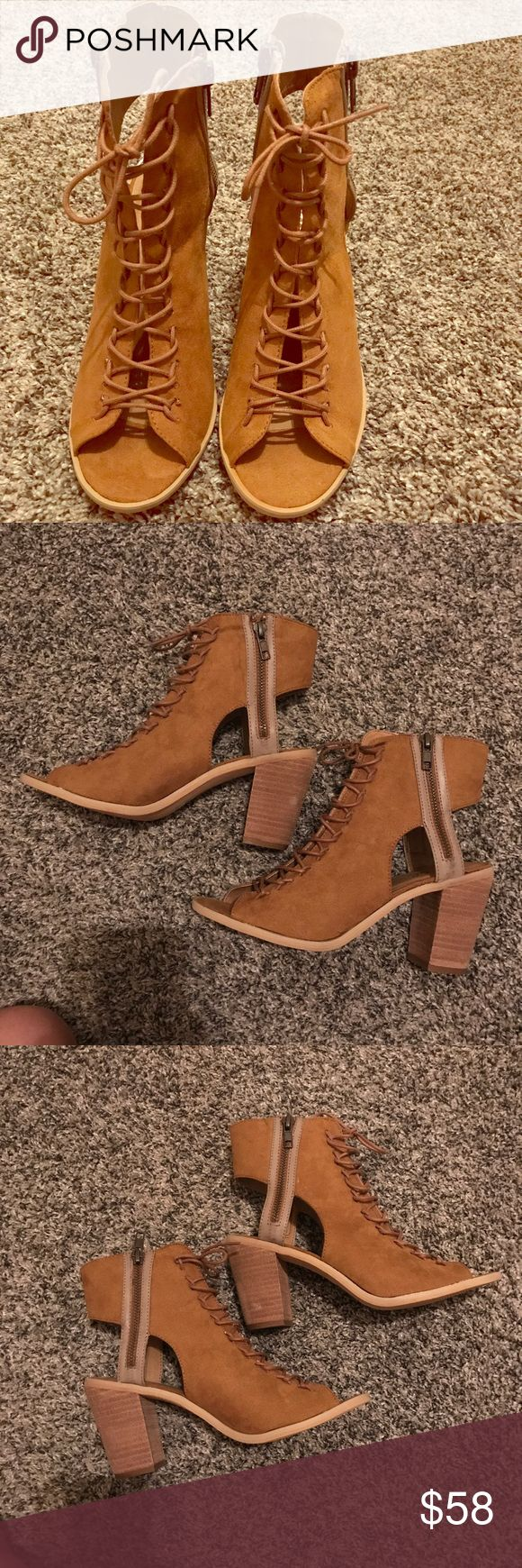 Women's bootie size 8 NWOT Lace up, peep toe, open heeled booties. Super cute! Zippers on both side. Never worn. Perfect for the end of summer and will carry over into fall. Price is pretty firm because they are brand new. rebel Shoes Ankle Boots & Booties