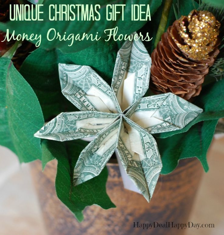 Unique Christmas Gift Ideas: Poinsettias With Money Origami Flower! This is a great housewarming gift - or a great one for White Elephant party or Yankee swap!  GO HERE for full tutorial:  http://wp.me/pUbK5-t0N