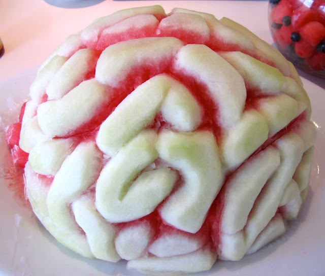 """Science party food included a carved """"watermelon brain""""."""
