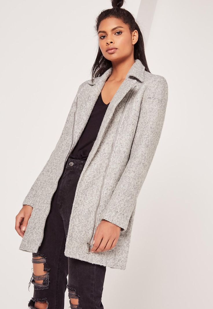 Missguided - Grey Petite Faux Wool Biker Coat