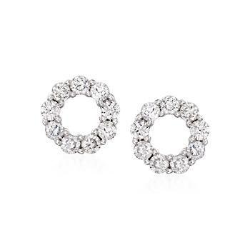 T W Diamond Earring Jackets In 14kt White Gold