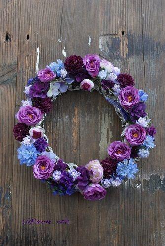 【今日の贈花】紫のエレガントリース|Flower note の 花日記