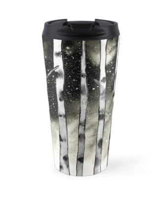 Birch watercolor design. Nature inspired. • Also buy this artwork on home decor, apparel, phone cases, and more. @redbubble. Birch inspired watercolor piece. Birch trees against a starry night sky. Nature inspired. Birch art. #redbubble #birch #birchtrees #art #artist #trees #nature #travelmug #travel