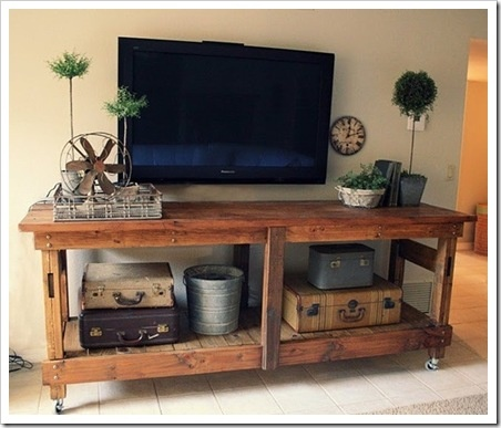 Made from pallets. TV console for our loft.