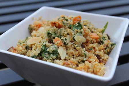 Yummy- Sweet potato spinach quinoa salad.