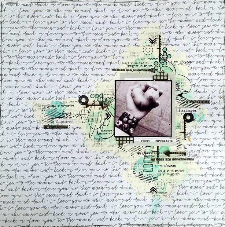Page freestyle de mel pour le blog Graffiti'Girl , tampons Grungie et Freestyle vert jaune, pages de fond écriture, encres texte , mots français