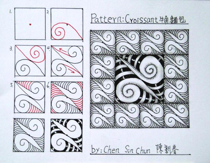 Croissant Zentangle Doodles Tangle Pattern – Fondos de Pantalla