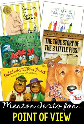 Primary mentor text suggested book list for Point of View- focusing on how characters in the text feel about other characters or events that happen- also…