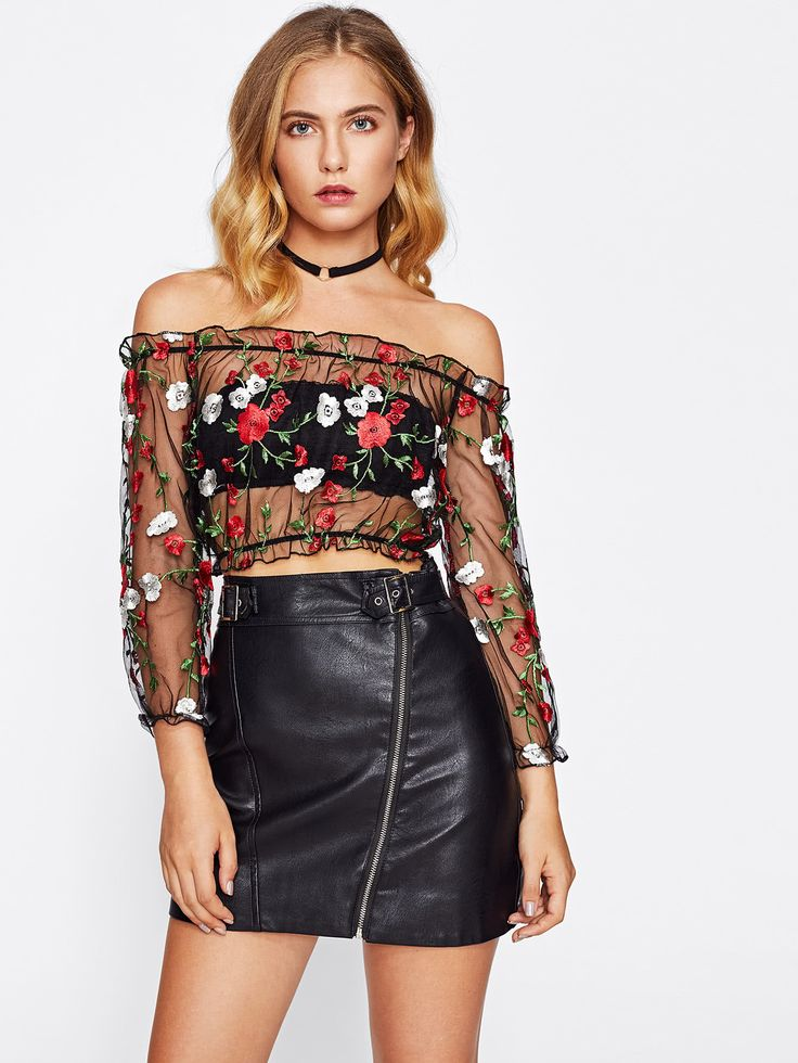¡Consigue este tipo de top hombros descubiertos de SheIn ahora! Haz clic para ver los detalles. Envíos gratis a toda España. Frill Trim Bardot Embroidery Mesh Top: Black Cute Sexy Off the Shoulder Three Quarter Length Mesh Plain Embroidered Crop Ruffle Fabric has no stretch Summer Blouses. (top hombros descubiertos, sin hombros, off shoulders, off the shoulder, cold shoulder, off-the-shoulder top, schulterfreies top, top hombros descubiertos, top dos nu, top spalle scoperte, hombros…