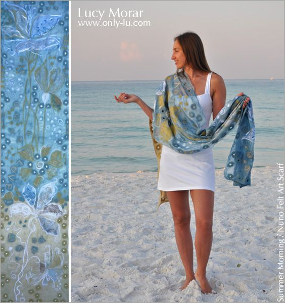 LUCY MORAR: Very fluid and airy scarf with large white flowers, and delicate floral design all over silvery sky-blue and golden yellow natural chiffon sil