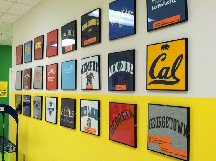 College t-shirts in album frames; teacher' alma matter