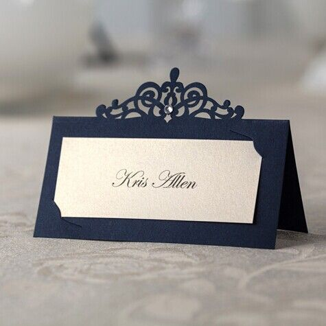 24pcs blue laser cut place cards wedding name cards paper party table decoration free shipping