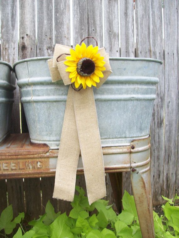 Burlap and Sunflower Pew Bows Country Wedding Decor by OneFunDay, $12.50