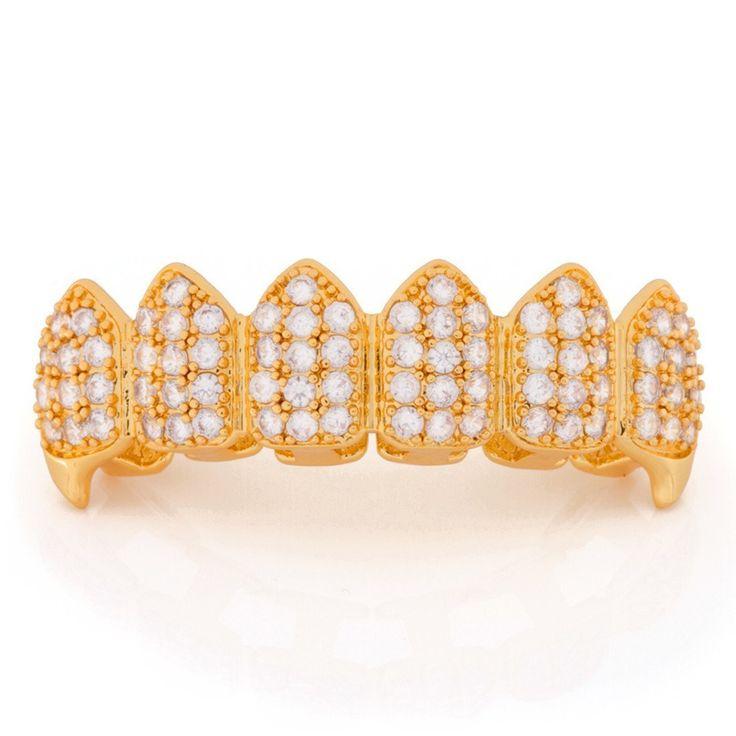 14K Gold CZ Dracula Teeth Grillz