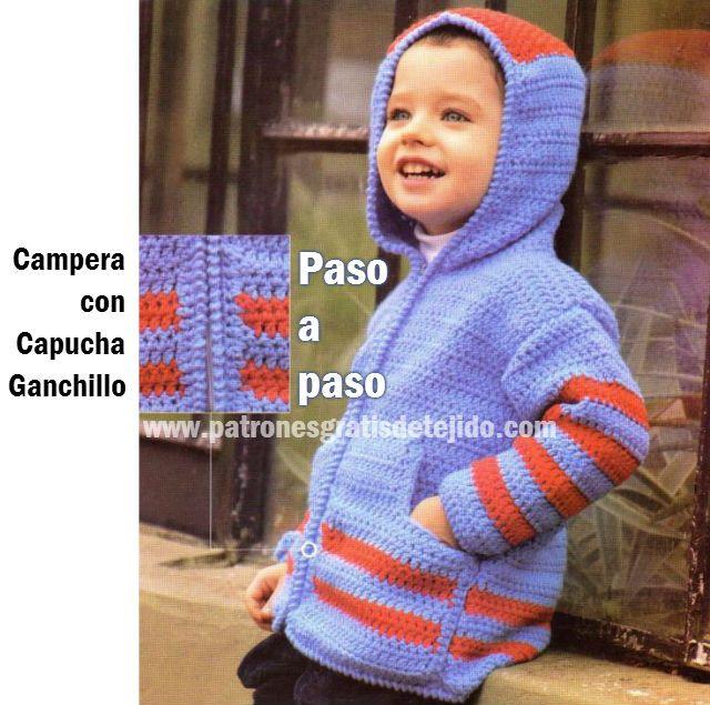 Campera con capucha para niño / Tutorial Ganchillo | Crochet y Dos agujas