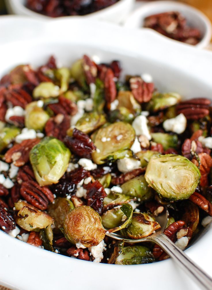 Roasted Brussels Sprouts with Blue Cheese, Walnuts and Cranberries   – Savory