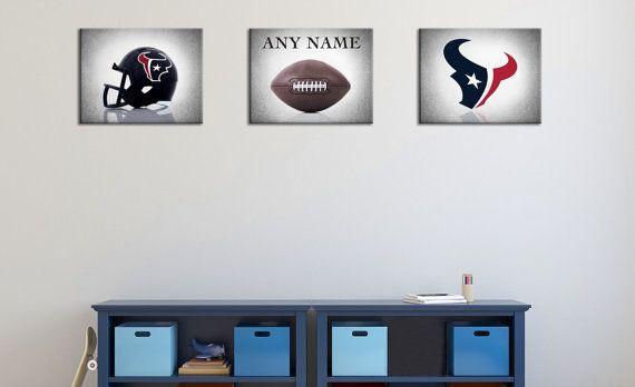 Personalized set of 3 Houston Texans photo print,boys room decor,kids room decor,Houston Texans art,football decor,Houston Texans,football