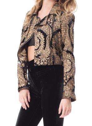 Black & Gold Velvet Moto Jacket | NYLON SHOP | Made For Pearl | $638