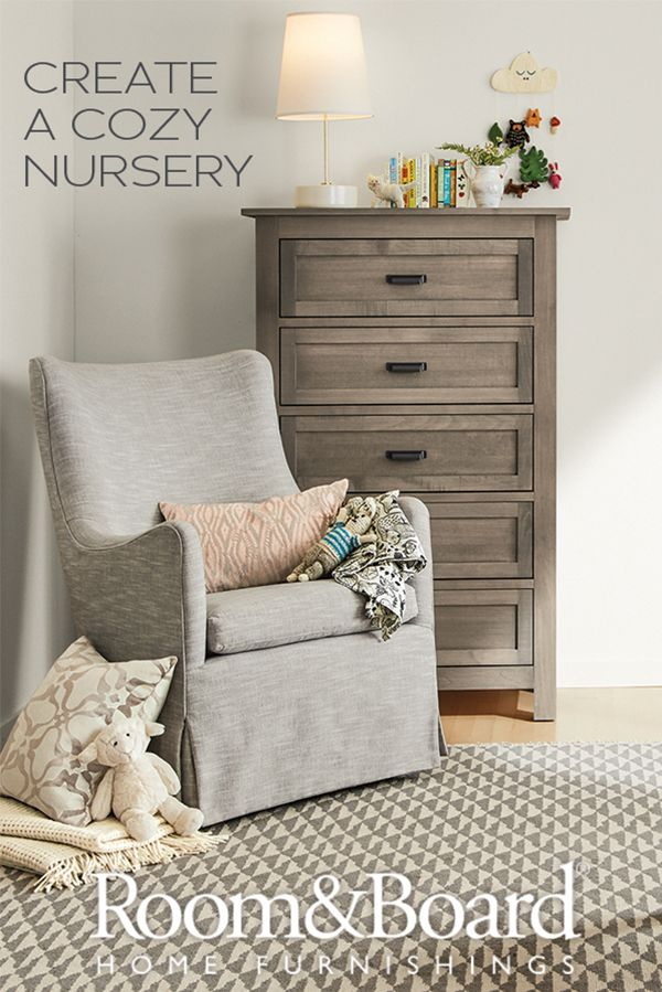 Add comfort to your baby's nursery with a cozy swivel glider chair.