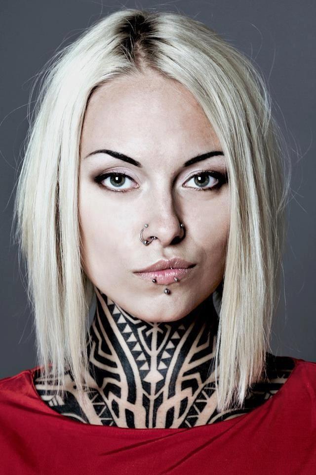 Polynesian style neck tattoo/body painting