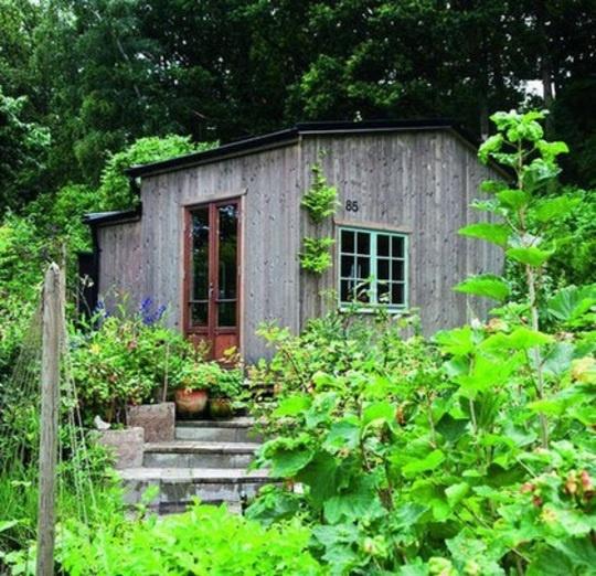 SKOGSSTUGA. En liten stuga mitt i naturen - omgivningen förstärker den mysiga känslan. Att bygga en trappa upp till dörren gör att boden känns mer som ett litet hus än ett förråd. Dekorera trappan med dina favoritblommor i krukor.