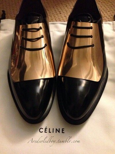 Celine Gold plated oxford flats.