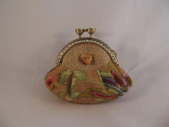Small coin purse hessian fabric purse fabric purse by jurgabespoke