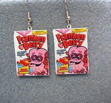 FrankenBerry Cereal Retro Kitsch Dangle Polymer Clay Junk Food Earrings Hypo Allergenic Nickle-Free