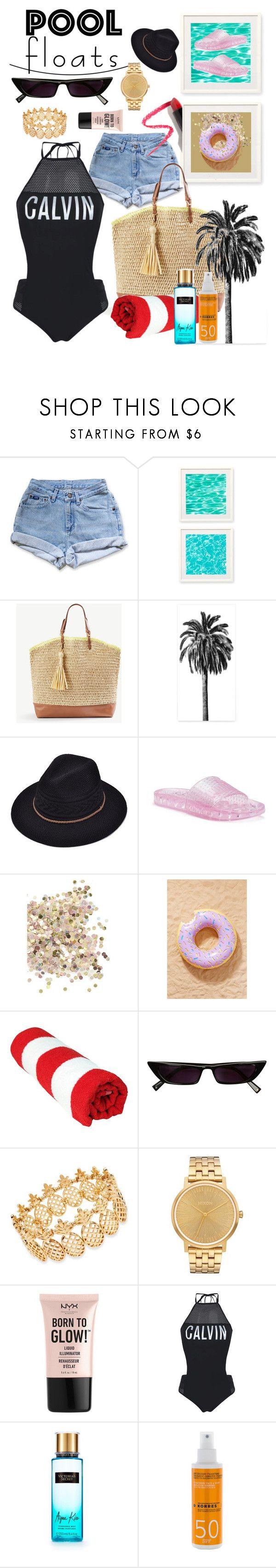 """Pool Party"" by marmura ❤ liked on Polyvore featuring Levi's, Two's Company, Ann Taylor, Puma, Topshop, Urban Outfitters, INC International Concepts, Nixon, NYX and Calvin Klein"