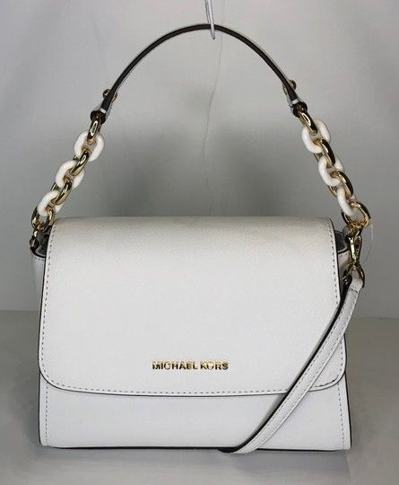 5b8c23a86837 Save big on the Michael Kors Sofia Sm Optic White Leather Satchel! This  satchel is a top 10 member favorite on Tradesy.