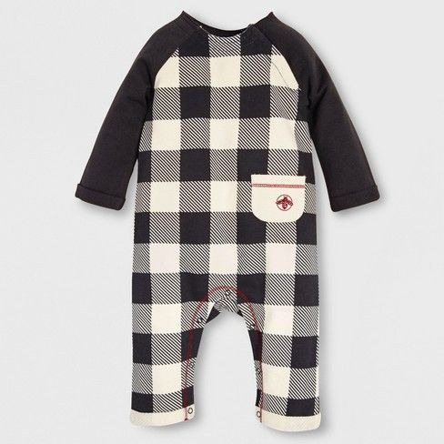 c2f89b60e Burt's Bees Baby Organic Cotton French Terry Buffalo Check Coverall - Off  White/Black 0-3M : Target