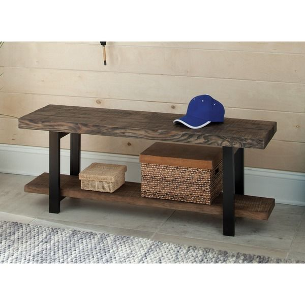 Alaterre Pomona Metal and Reclaimed Wood Bench with Shelf