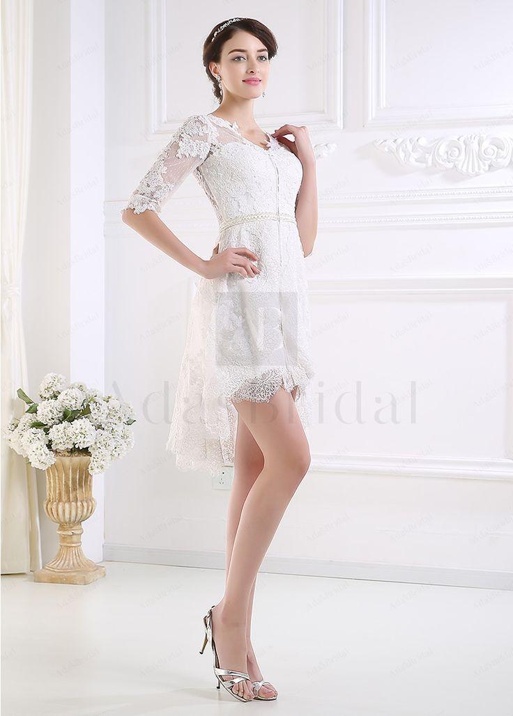 Glamourous Tulle Sheath V-neck Neckline Short Wedding Dress - Adasbridal.com
