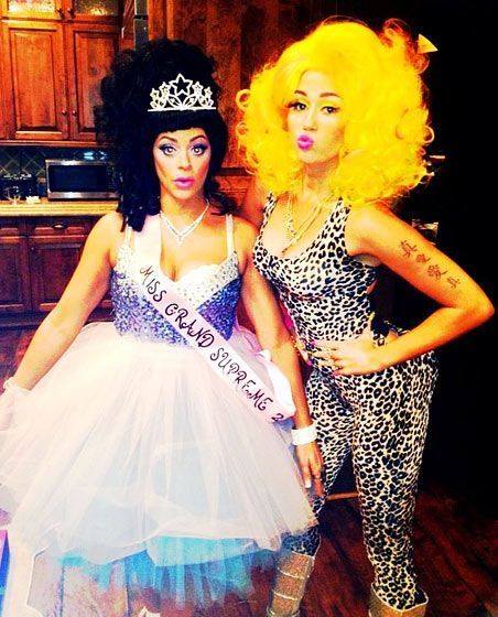 Miley Cyrus    As Nicki Minaj and her friend as a Toddler and Tiaras star    Halloween -Us Magazine