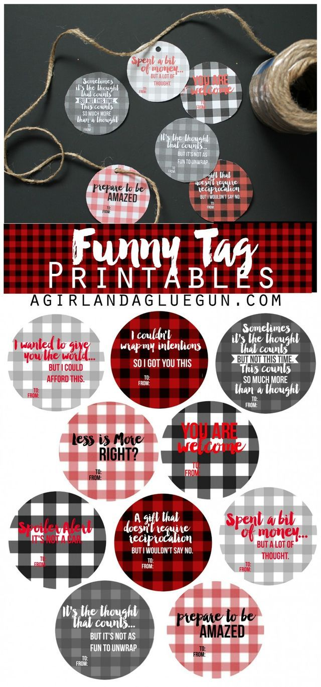 Hilarous gift tags -free printables - free printables--funny tags for presents with buffalo check