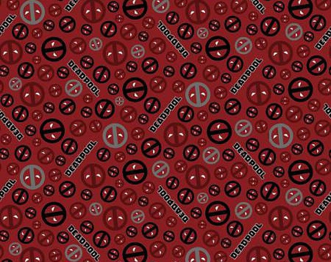 Deadpool Character Red And Black Icons Cotton Fabric By Springs Creative