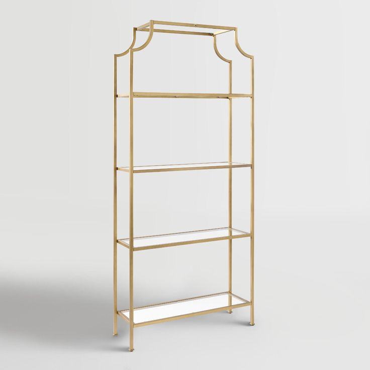 Antique gold metal construction and Pagoda-style detailing give our shelf an…