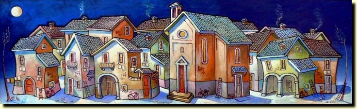 Le casette di Scalvini - I quadri di Severo Scalvini dove prendono forma gli oggetti, le case, le figure, gli animali. Artista contemporaneo...
