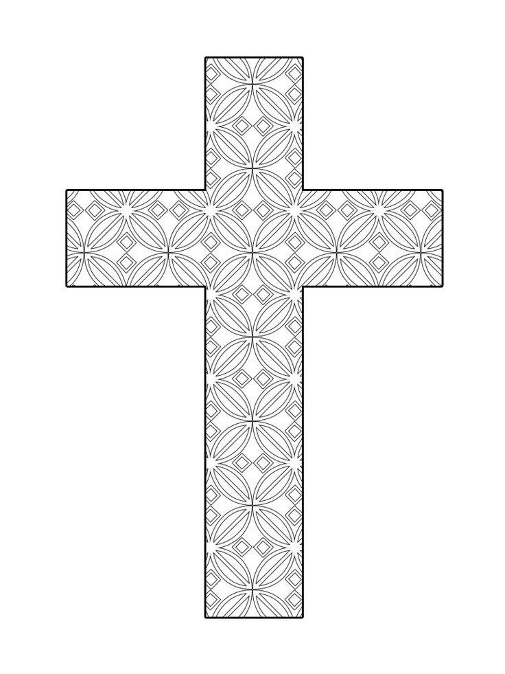 Printable Cross Coloring Flower Pattern