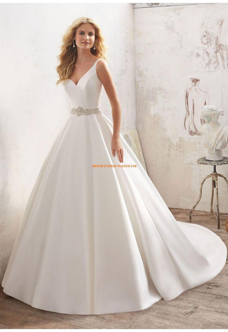 A-linie V-ausschnitt Schöne Brautkleider aus Satin mit Perlenstickerei