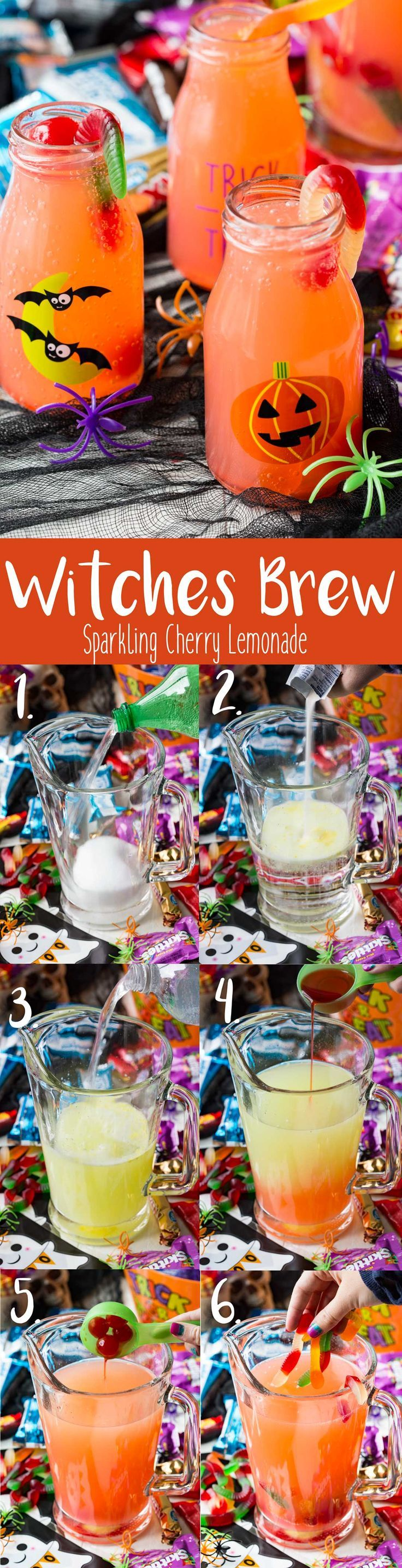 "This sparkling cherry lemonade is the perfect Halloween Witches Brew and so fun for a Ghostbusters® movie night. It is fun and tasty, and the kids will get a kick out of adding ""blood shot eyeballs"" and ""worms"" to their punch! Witches Brew ingredients make for a great BOO bundle! #BOOitForward #ad @walmart  -Eazy Peazy Mealz"