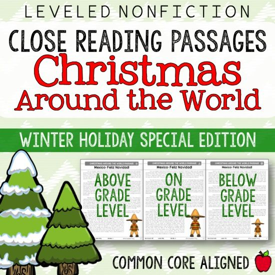 CHRISTMAS Around the WORLD! United States, Mexico, England, Germany, Sweden, and Ireland. Close Reading Passages + Christmas and Winter Holiday Seasonal Reading + Differentiation with Leveled Texts + Common Core Skill Building Activities & Questions & Answer Keys. Perfect for 4th or 5th grade!