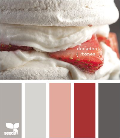 Love the cranberry and gray.Colors Combos, Living Rooms, Decadent Tone, Design Seeds, Color Combos, Colors Palettes, Colors Schemes, Bathroom Colors Red, Colours Palettes