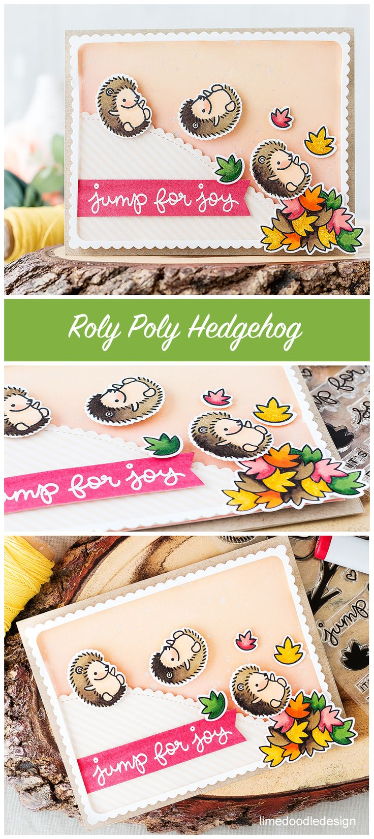 Lawn Fawn Jump for Joy; hedgehog; roly poly hedgehog; fall; autumn leaves card; Lime Doodle