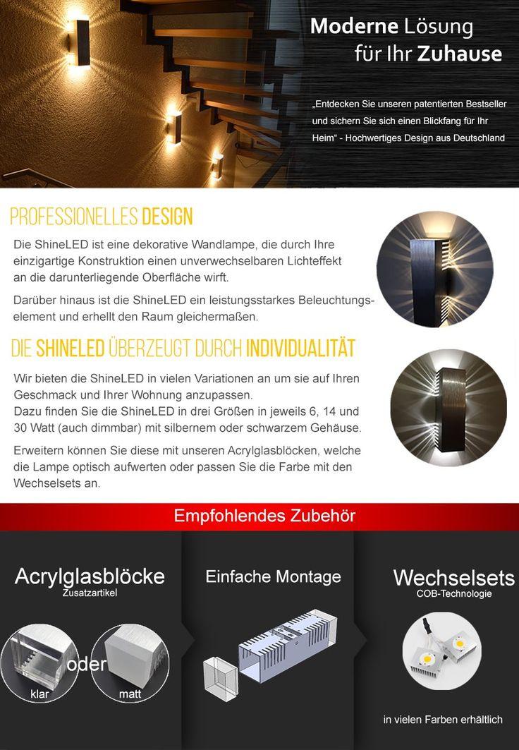 New SpiceLED Wandleuchte ShineLED xW warmwei mit Schalter Wandlampe
