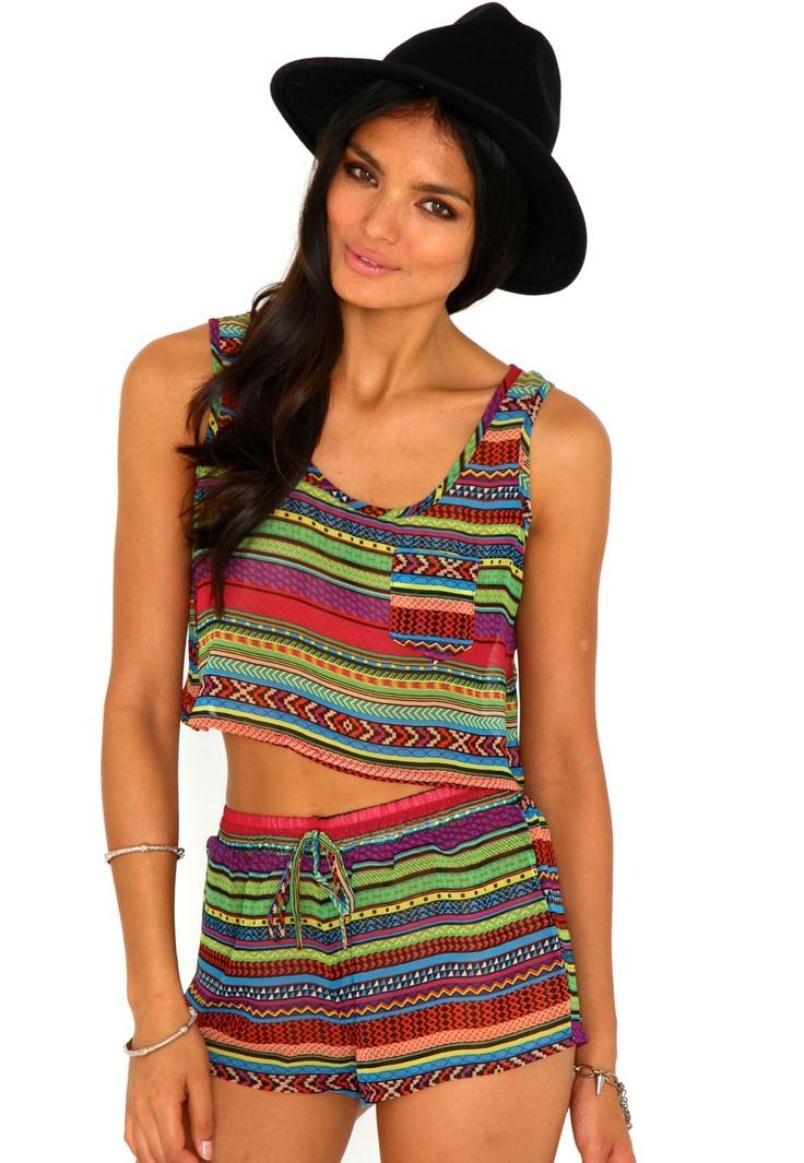 Maeby Aztec Print Crop Top