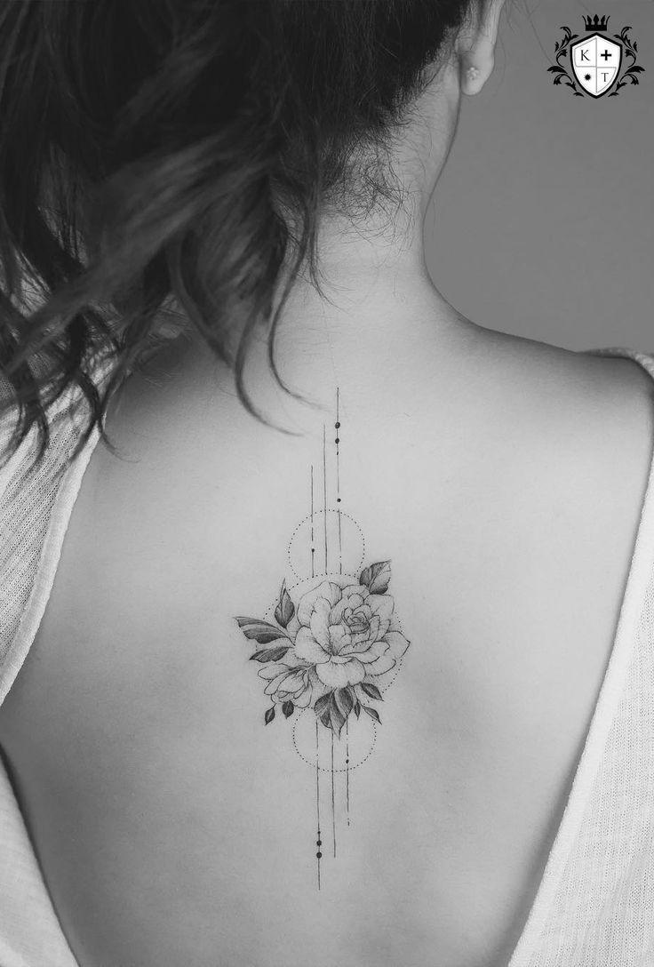 Damen Rücken Rose Tattoo Modelle - #totto | Ribbon tattoos
