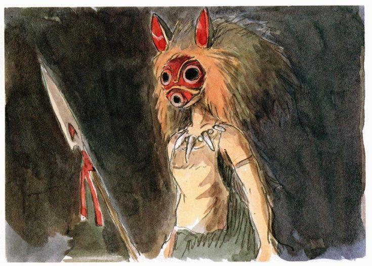 concept art for hayao miyazaki's princess mononoke