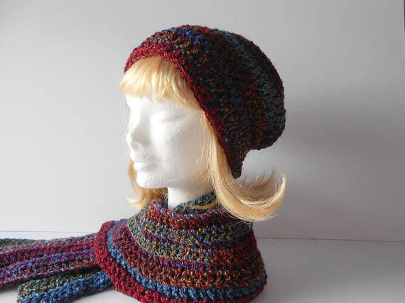 Clothing Gift. Scarf and Hat Set. Crochet Slouchy Hat. Warm