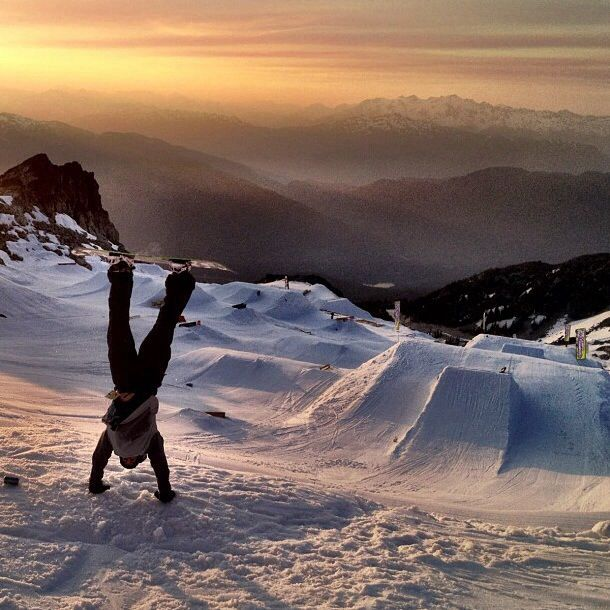 Upside-down with a snowboard! (photo only)